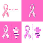 Breast Cancer Awareness Ribbon set medical poster, flyer, banner, text slogan, paper ribbon of flowers pattern pink background