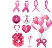Breast cancer awareness ribbon set.