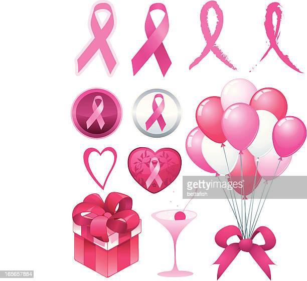 breast cancer awareness ribbon set. - cartoon cancer stock illustrations