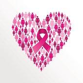 Breast cancer awareness ribbon women heart shape.