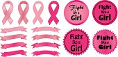 Breast Cancer Awareness ribbons and Fight Like a Girl logos