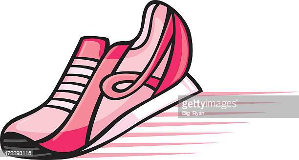 breast cancer awareness shoe - cartoon cancer stock illustrations