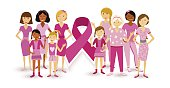 Breast cancer awareness women people ribbon united