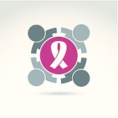 Breast cancer awarness ribbon placed on purple circle.