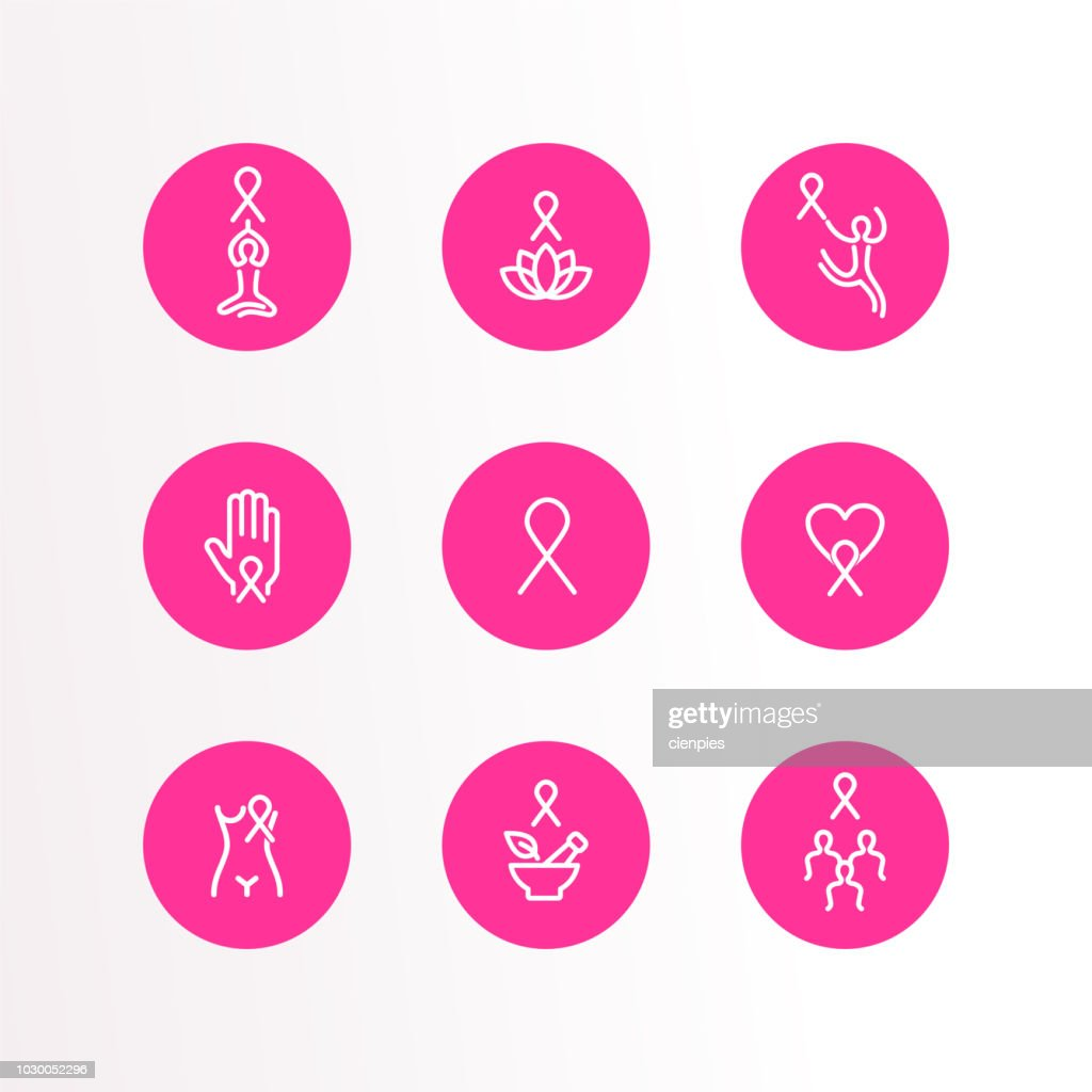 Breast Cancer Care pink ribbon outline icon set