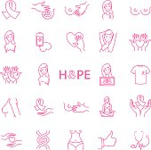 breast cancer icons, stock vector set