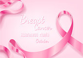 Breast Cancer October Awareness Month Campaign Background with paper pink ribbon symbol, Breast Cancer Awareness vector design