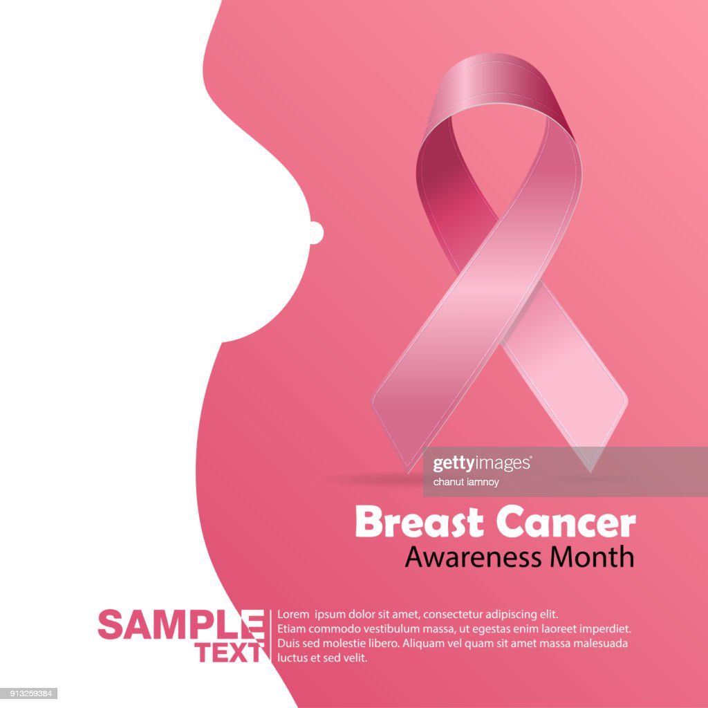 Breast Cancer October Awareness Month Campaign Background with paper girl silhouette and pink ribbon symbol. Women health vector design