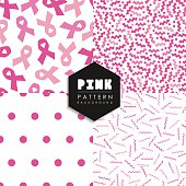 Breast cancer pink geometry seamless pattern set