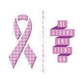 Breast cancer poster pink ribbon text slogan, mockup medical banner