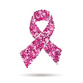 Breast cancer ribbon design for awareness support
