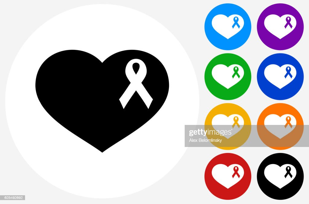 Breast Cancer Ribbon Heart Icon on Flat Color Circle But