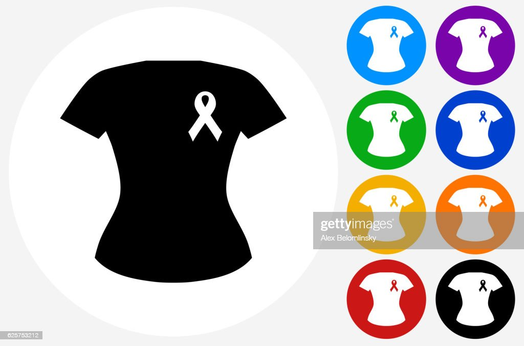 Breast Cancer  Ribbon Shirt Icon on Flat Color Circle But