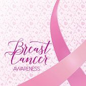 Breast cancer ribbons and heart awareness card background