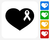Breast Cancer Support Ribbon Heart Icon Flat Graphic Design