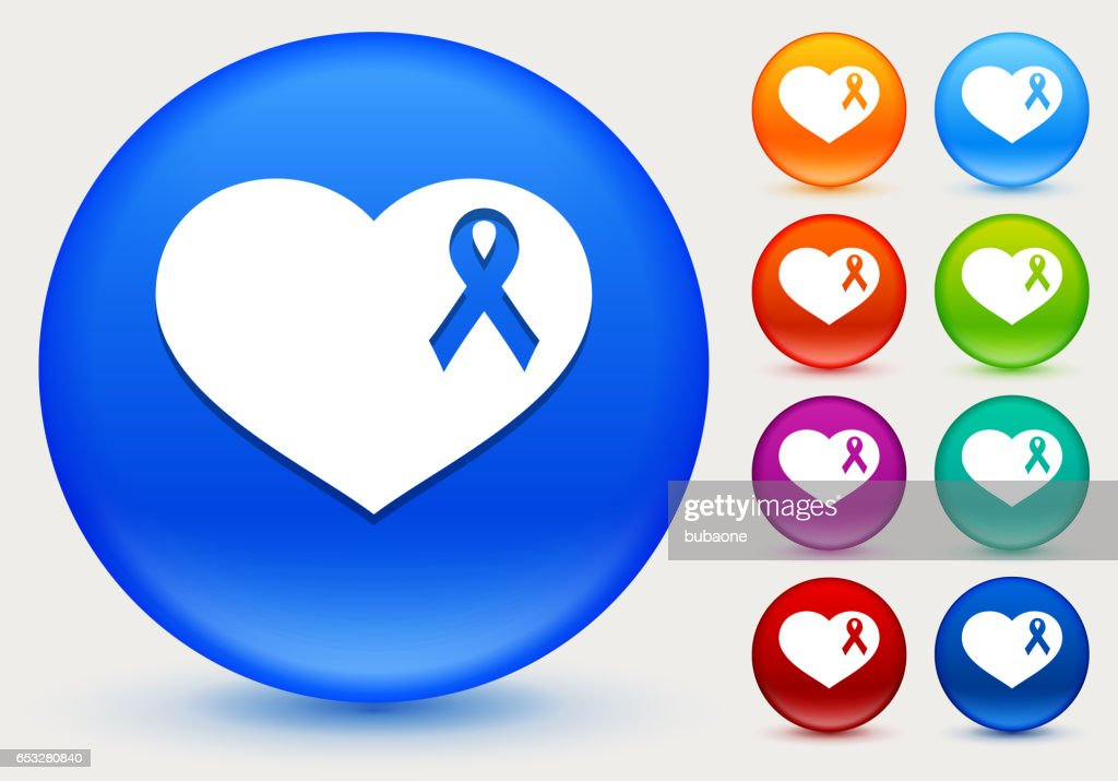 Breast Cancer Support Ribbon Heart Icon on Shiny Color Circle Buttons : Vector Art
