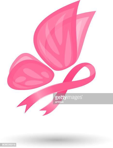 ilustrações, clipart, desenhos animados e ícones de símbolo do câncer de mama - borboleta