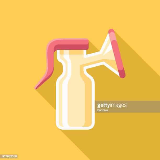 ilustraciones, imágenes clip art, dibujos animados e iconos de stock de mama bomba diseño plano hembra reproducción icono con sombra lateral - lactancia materna