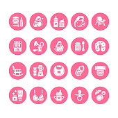 Breastfeeding, baby food vector flat glyph icons. Breast feeding elements - pump, woman, child, powdered milk, bottle sterilizer, nursing pillow. Maternity. Solid silhouette pixel perfect 64x64