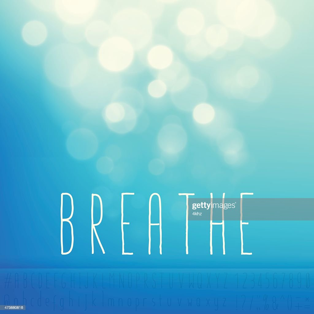 Breathe Stock Vector Background Word Blue Sky Text Alphabet