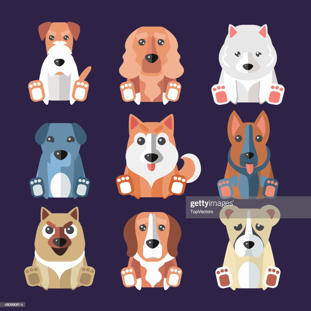 Breeds of Dogs Icons. Vector Illustration