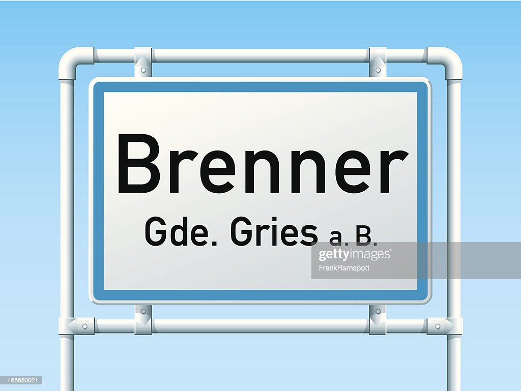 Brenner Austria City Road Sign : stock illustration