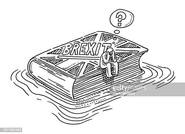 brexit book floating in water uncertainty concept drawing - brexit stock illustrations