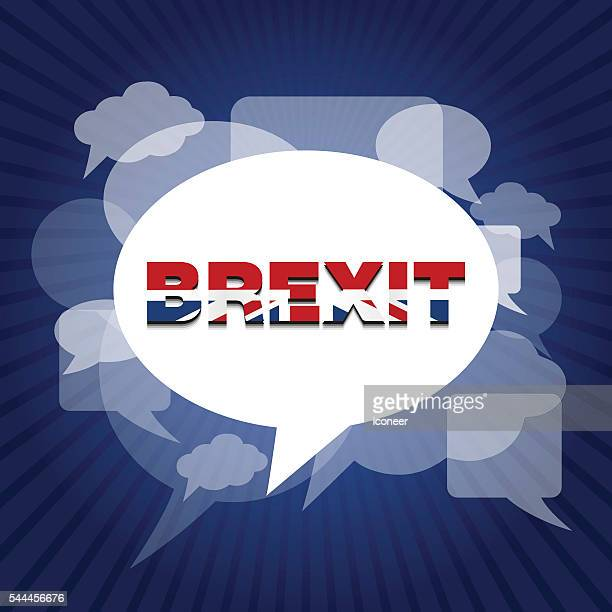 brexit on bubbles with speech bubble and blue rays background - brexit stock illustrations, clip art, cartoons, & icons