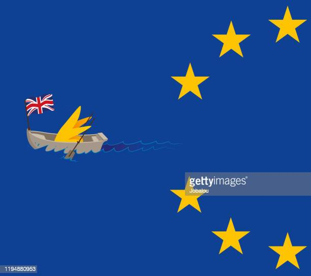 brexit paddling out of the european union - brexit stock illustrations