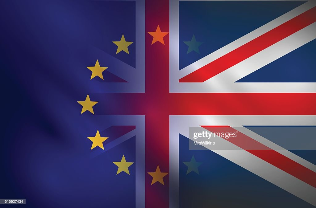 Brexit sign - flags vector illustration