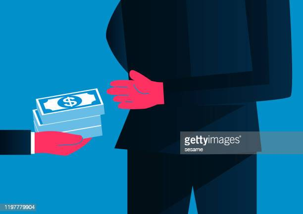 bribes, giving money from behind, hidden transactions - corporate theft stock illustrations