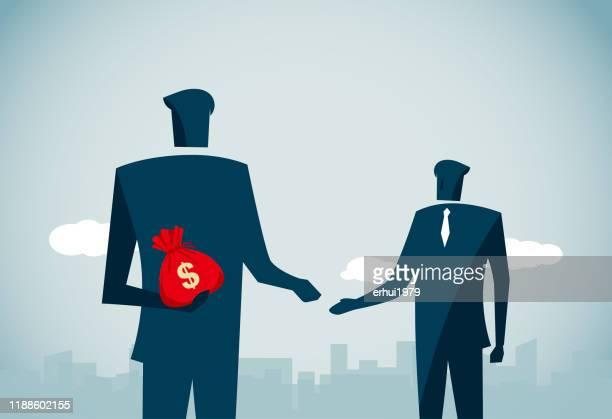bribing - corruption stock illustrations