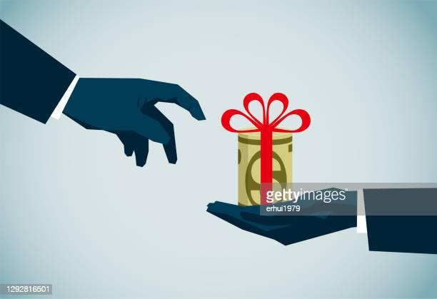 bribing - gift tag note stock illustrations