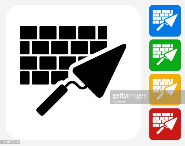 brick and mortar icon flat graphic design - trowel stock illustrations, clip art, cartoons, & icons