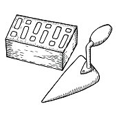 Brick and trowel vector illustration.