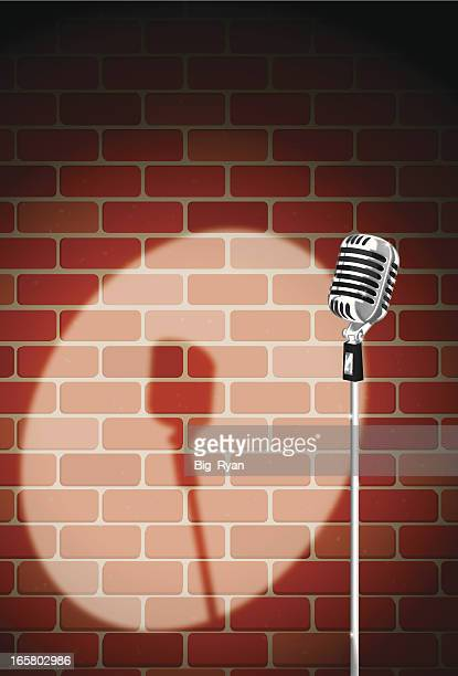 brick night club mic - humor stock illustrations