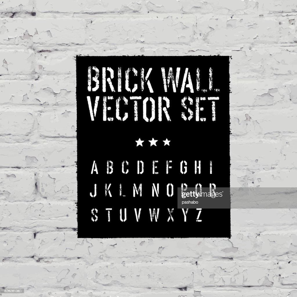 Brick traced texture, stencil alphabet and grunge rectangle. Thr