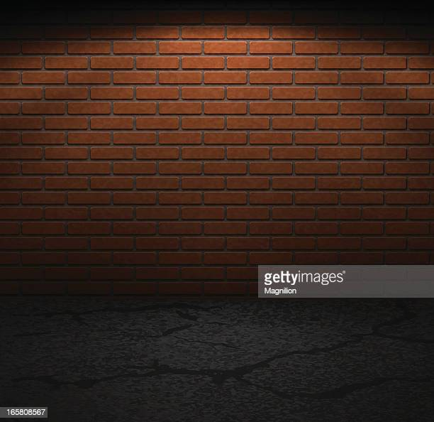 brick wall and sidewalk in dark lighting - brick stock illustrations