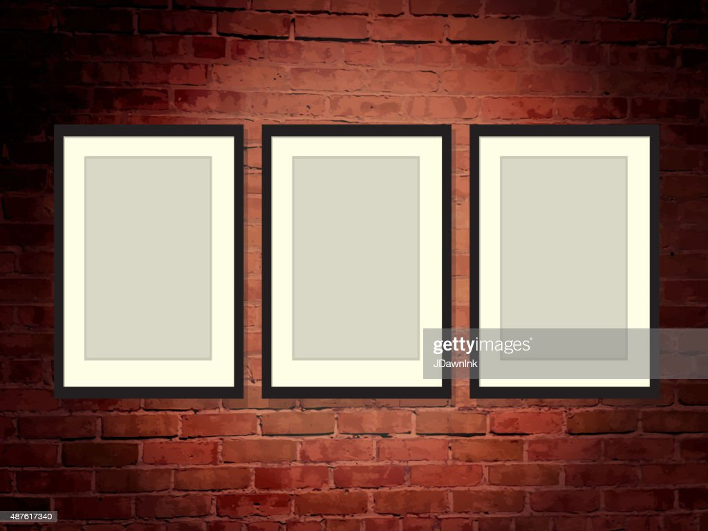 Brick Wall Art Gallery Background With Frames Vector Art | Getty Images