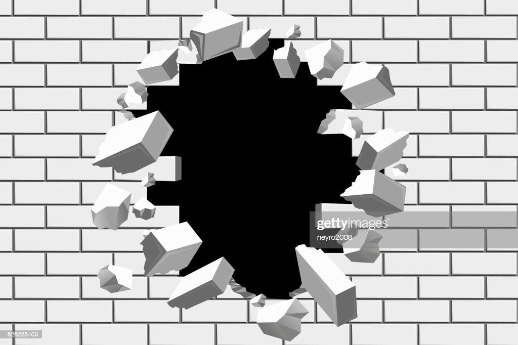 Brick wall break vector background