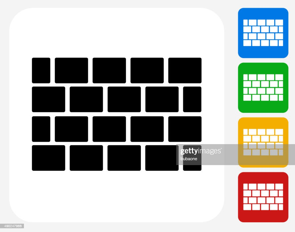 Brick Wall Icon Flat Graphic Design