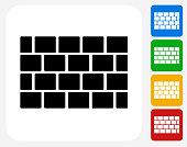 Brick Wall Icon Flat Graphic Design