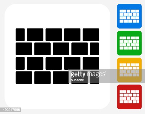 Brick Wall Icon Flat Graphic Design Vector Art | Getty Images