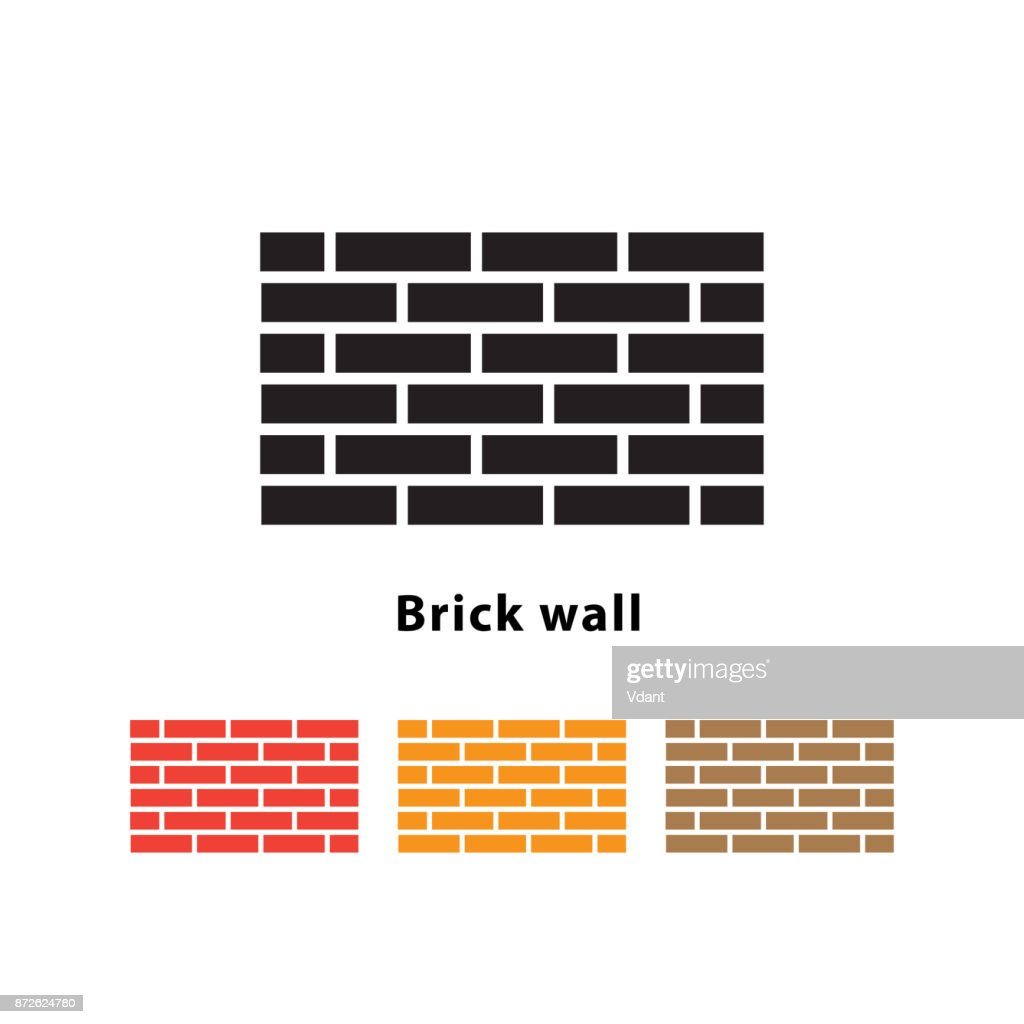 Brick wall icon vector illustration on white background.