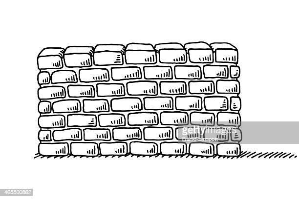 illustrations, cliparts, dessins animés et icônes de mur de briques de stabilité symbole de dessin - mur de briques
