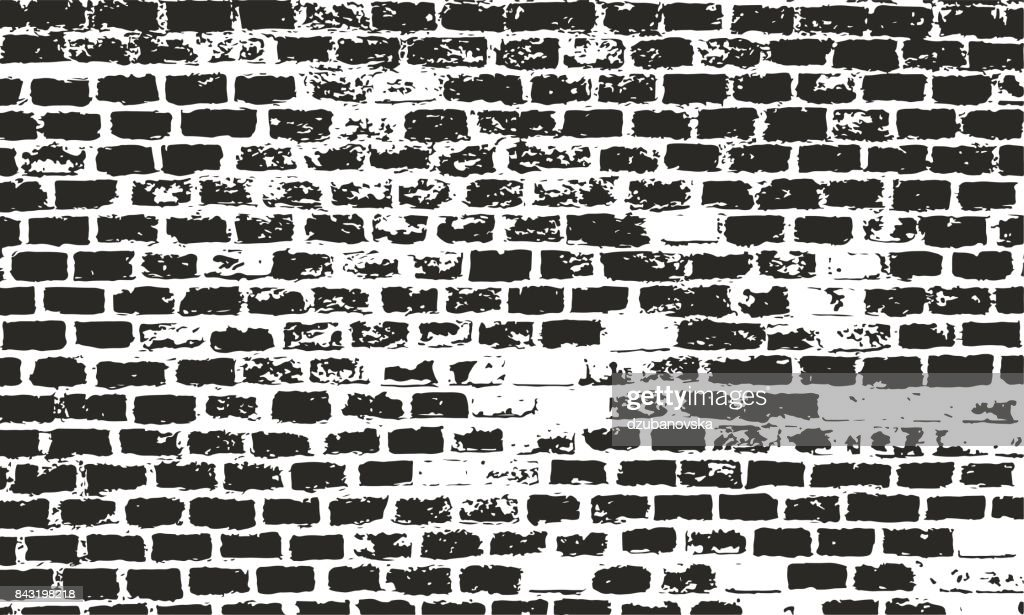Brick wall texture. Grunge vector urban background. Distressed surface for retro design.