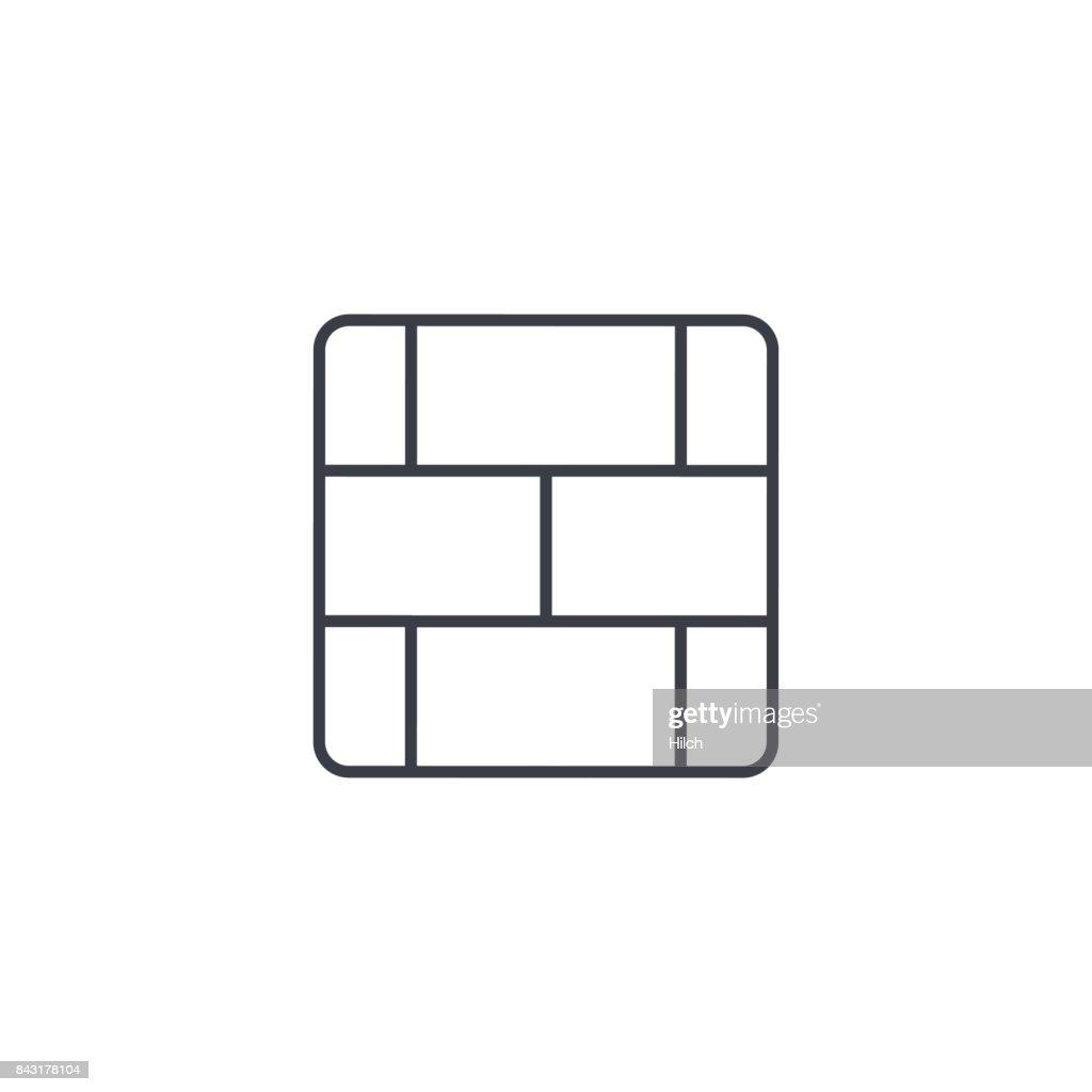 brick wall thin line icon. Linear vector symbol