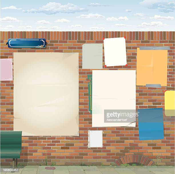 brick wall with empty posters - surrounding wall stock illustrations