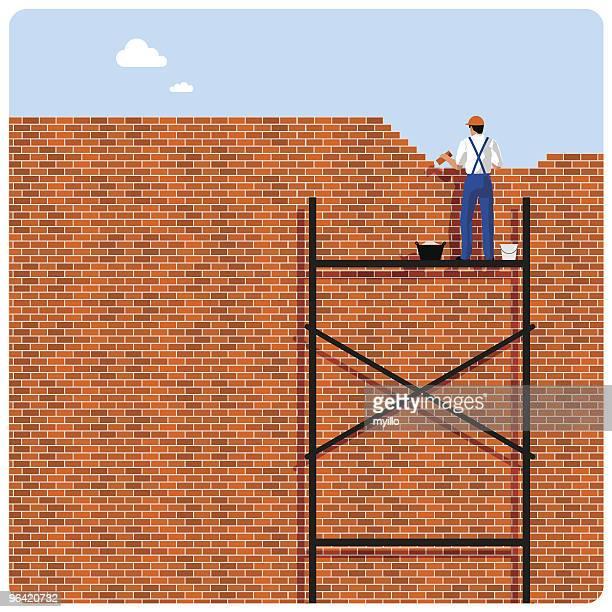 illustrations, cliparts, dessins animés et icônes de mur de briques de papier - mur de briques