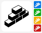 Bricks Icon Flat Graphic Design